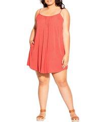 plus size women's city chic vacation trapeze dress, size small - orange