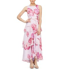 sl fashions petite tiered floral-print gown