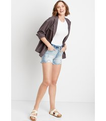 kancan™ womens high rise ripped medium fray waist 3.5in shorts blue - maurices