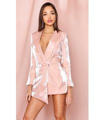 metallic asymmetric blazer, nude