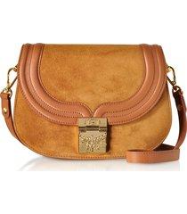 mcm designer handbags, trisha cognac suede and leather small shoulder bag
