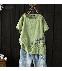 zanzea verano de las mujeres de manga corta bordado de la blusa causal tapas flojas camisas plus -verde
