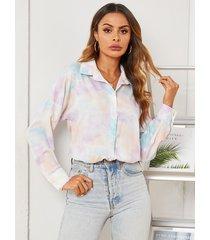 yoins blusa de cuello clásico con botones delanteros y teñido anudado multicolor