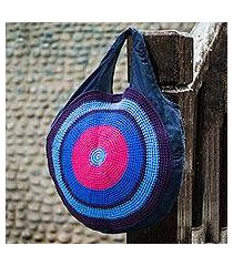 cotton blend tote handbag, 'long play blues' (peru)