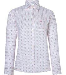 camisa dudalina manga longa tricoline 2 estampado feminina (estampado, 46)