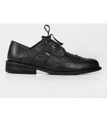 zapatos cordón derby de cuero para mujer grabado reptil