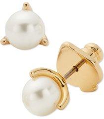 kate spade new york gold-tone imitation pearl 3-prong mini stud earrings