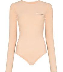 mm6 maison margiela logo-print long-sleeve bodysuit - neutrals