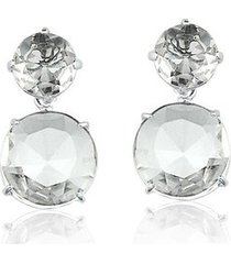 brinco toque de joia duo de pedras quartzo cristal ouro branco