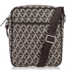 lancaster paris designer men's bags, ikon brown coated canvas men's crossbody bag