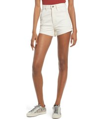 lee high waist dungaree shorts, size 33 in ecru at nordstrom