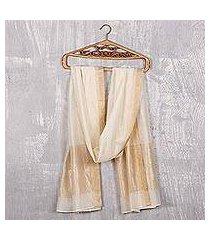 cotton and silk shawl, 'ivory radiance' (india)