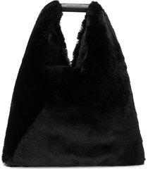 mm6 maison margiela fur tote - black