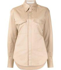 dion lee belt-strap utility shirt - brown