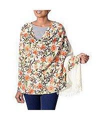 wool shawl, 'springtime blooms' (india)
