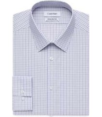 calvin klein infinite non-iron dusty mauve check slim fit dress shirt