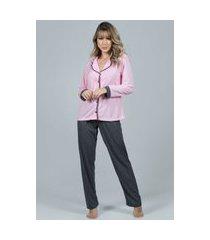 pijama feminino serra e mar modas longo com botões imperium rosa
