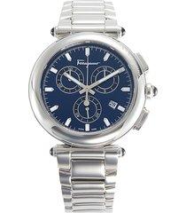 salvatore ferragamo men's navy dial stainless steel watch - grey