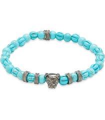 thompson of london men's bulldog gunmetal-tone & turquoise bracelet