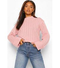 geribbelde maxi trui met wijde mouwen, roze