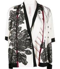 antonio marras floral embroidered cardigan - white