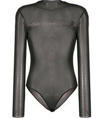 misbhv crystal logo sheer bodysuit - black