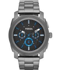fossil men's chronograph machine smoke-tone stainless steel bracelet watch 45mm fs4931