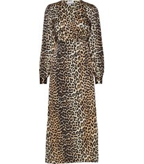 silk stretch satin wrap dress knälång klänning brun ganni