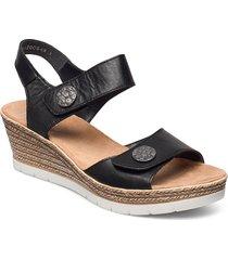 619b9-00 sandalette med klack espadrilles svart rieker