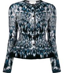 alexander mcqueen abstract pattern knitted peplum cardigan - blue