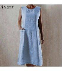 zanzea de las mujeres sin mangas del hombro larga camisa de vestir de verano del vestido del tanque vestido de tirantes plus -azul claro