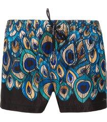 dolce & gabbana peacock-feather print swim shorts - blue