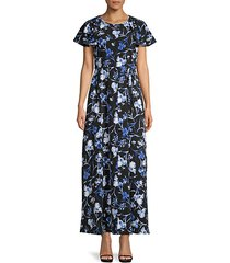 floral flutter-sleeve long dress
