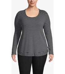 lane bryant women's active striped high-low sweatshirt 18/20 black and white