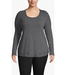 lane bryant women's active striped high-low sweatshirt 22/24 black and white
