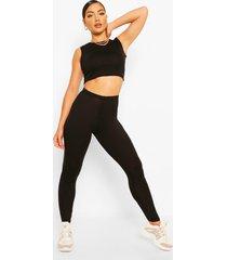 mouwloos kort topje en legging - combi-set, zwart