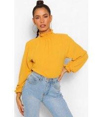 hammered matte satin high neck blouse, mustard