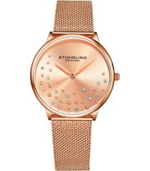 stuhrling women's rose gold mesh stainless steel bracelet watch 38mm