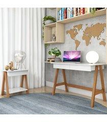 escrivaninha cavalete e mesa lateral cavalete amãªndoa branco casah - branco - dafiti