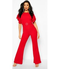 layered puff sleeve jumpsuit, red
