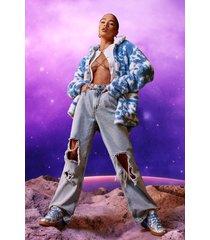 acid wash gebleekte boyfriend jeans met extreem gescheurde knieën, ice blue