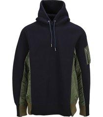 sacai cotton blend oversized hoodie