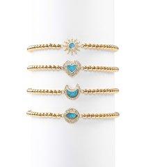 eye candy la women's luxe roxanne opal & crystal stretch beaded bracelet