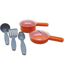 brinquedo de cozinha - mini panelinhas e talheres 7 peças - para meninos e meninas - samba toys