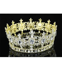 men's pageant imperial sparkling tiara full circle round gold king crown