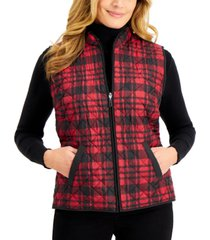 karen scott fireside plaid vest, created for macy's