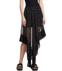 sacai women's asymmetric polka dot skirt - black - size 1 (xs)