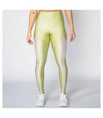 calça legging poliamida verde com recorte em tela feminina água e luz