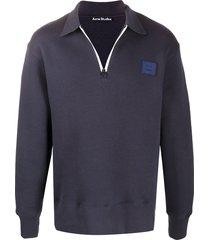 acne studios logo-patch oversized sweatshirt - blue