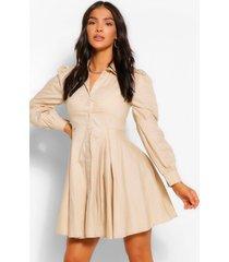 geplooide katoenen blouse jurk met ballonmouwen, steenrood
